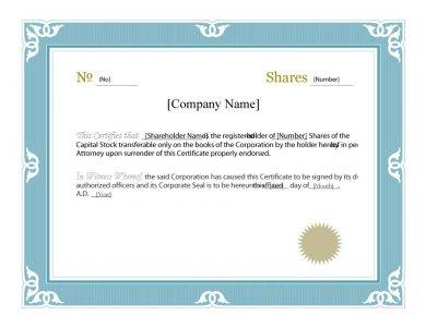 Share Certificate Template Pdf 2