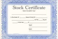 Share Certificate Template Pdf 3