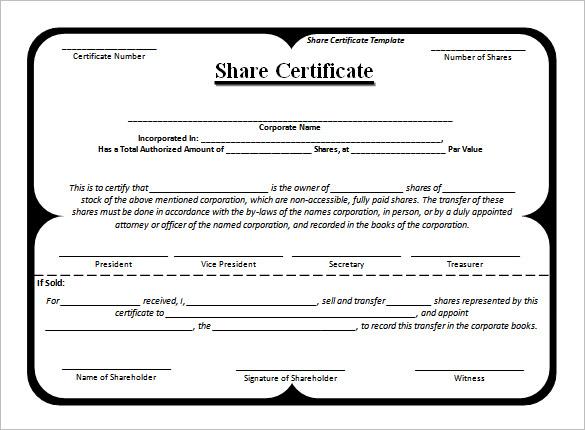 Share Certificate Template Pdf 8