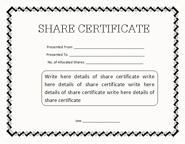 Shareholding Certificate Template 11