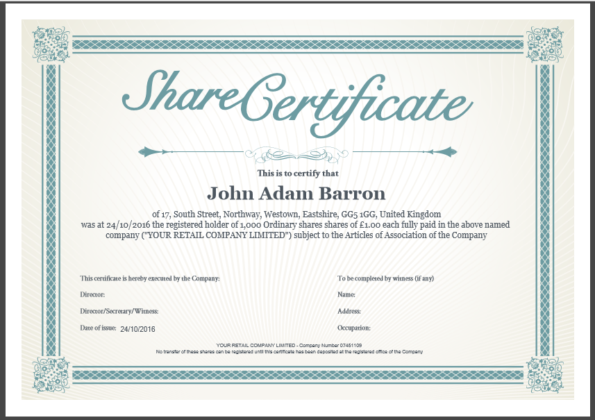 Shareholding Certificate Template 5