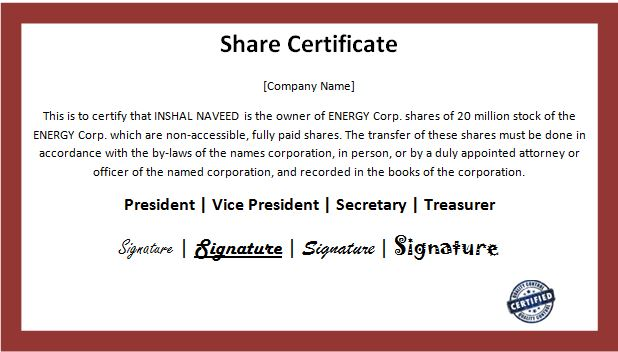 Shareholding Certificate Template 7