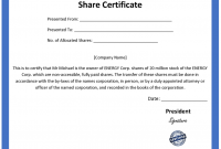 Shareholding Certificate Template 9