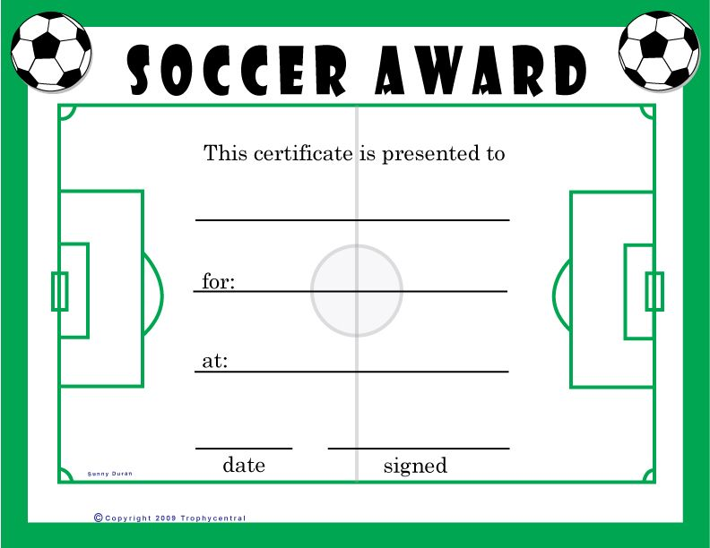 Soccer Award Certificate Templates Free 5