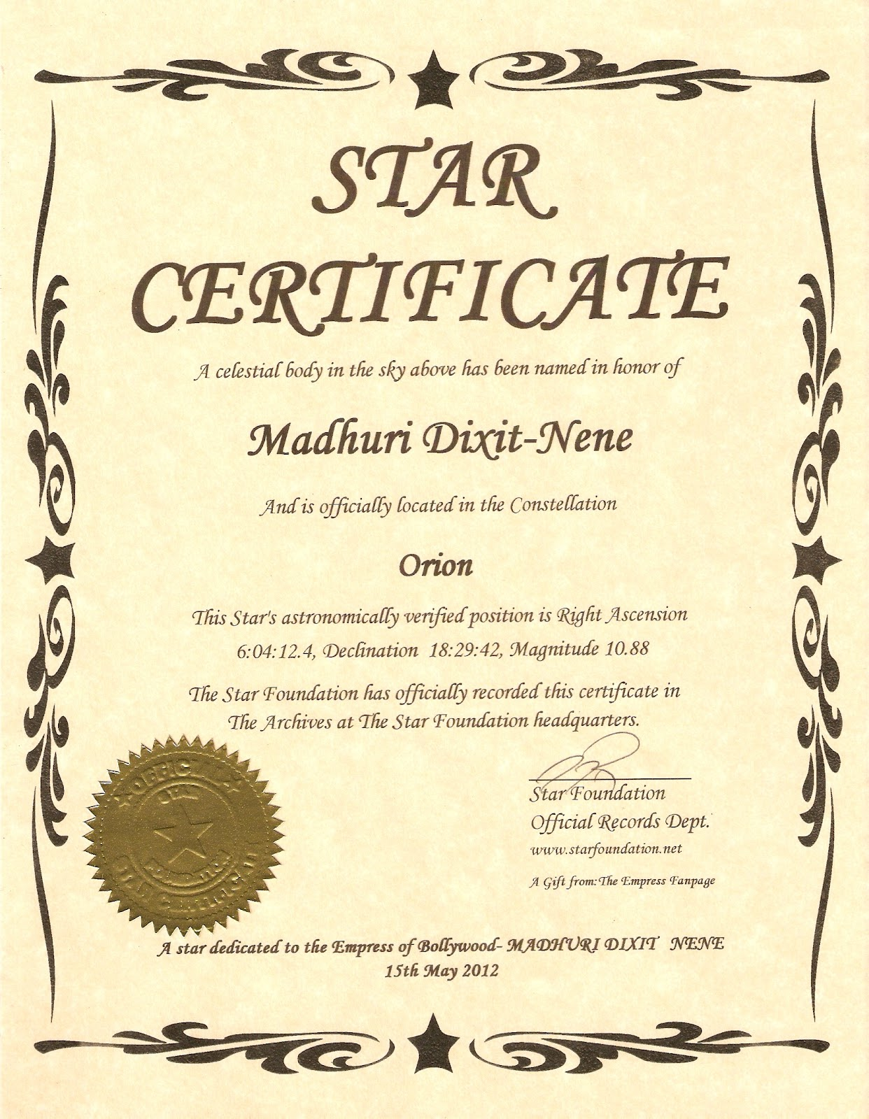Star Naming Certificate Template 2