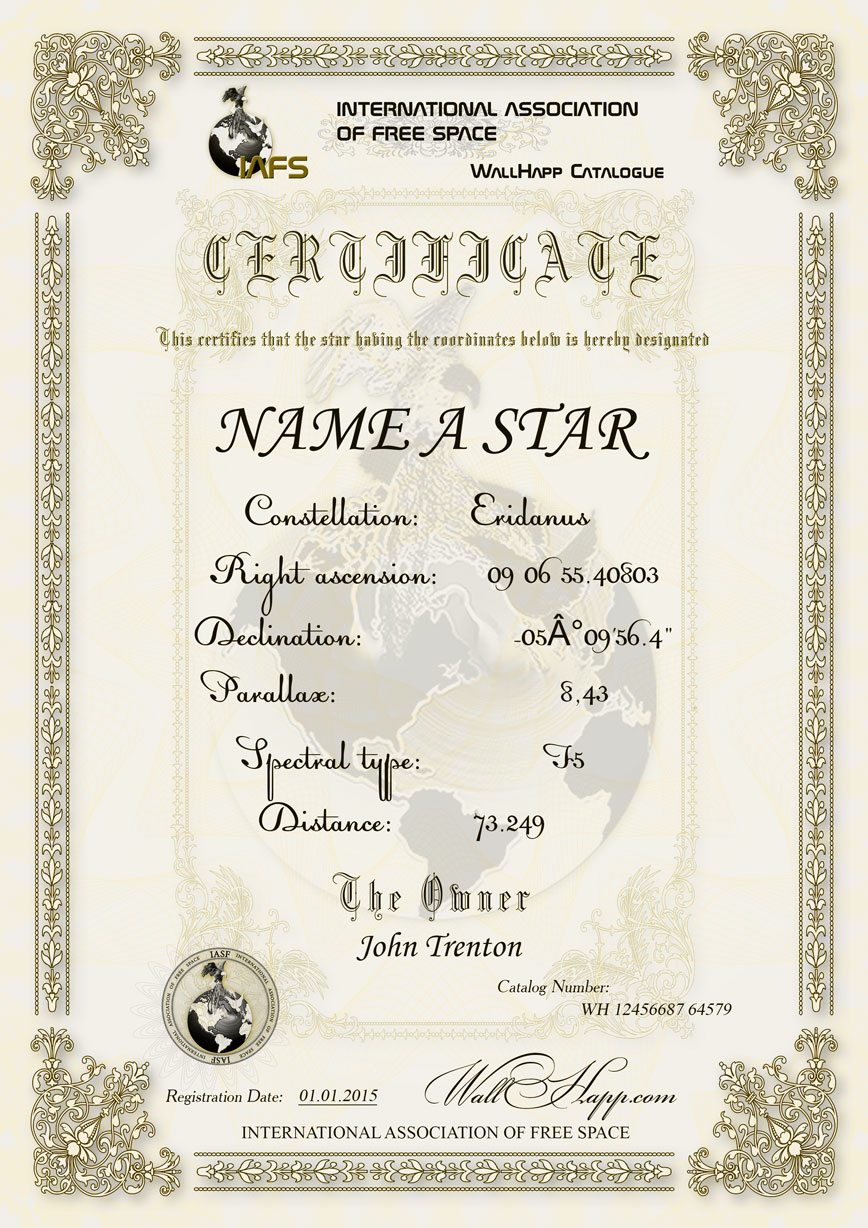 Star Naming Certificate Template 4