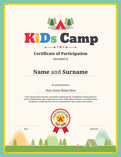 Kids Certificate Template In Vector For Camping Participation
