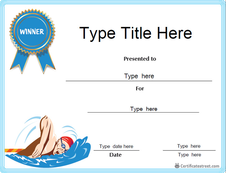 Swimming Certificate Templates Free 3