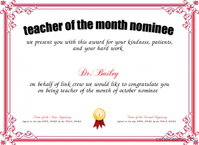 Teacher Of The Month Certificate Template 3