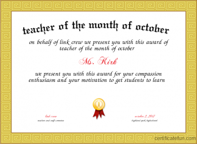 Teacher Of The Month Certificate Template 4