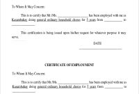 Template Of Certificate Of Employment 2
