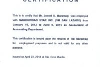 Template Of Certificate Of Employment 4