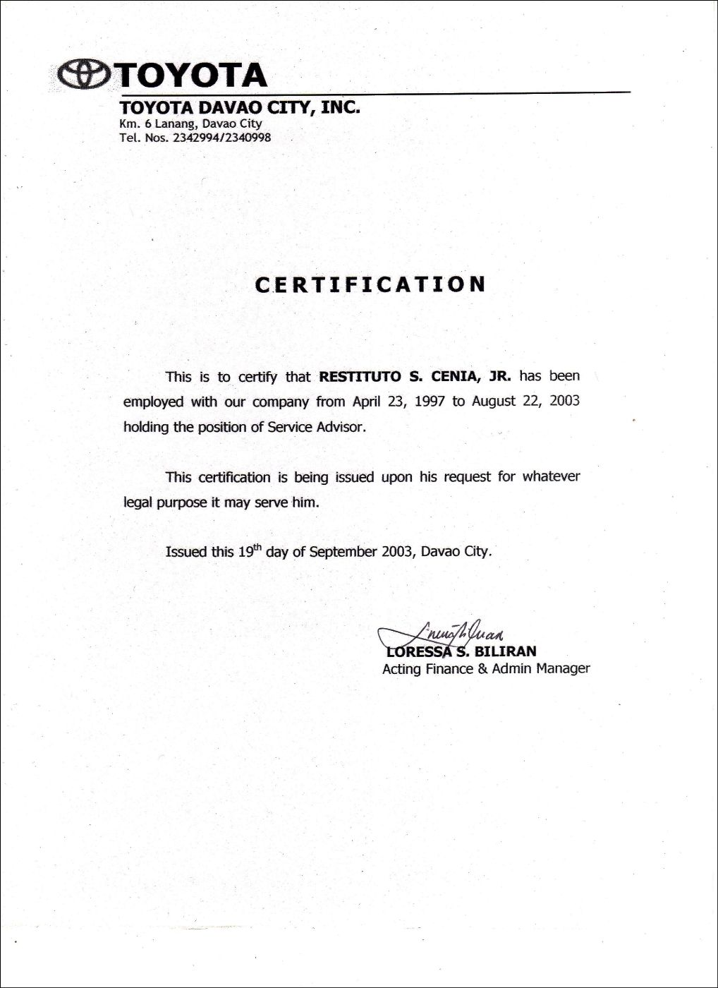 Template Of Certificate Of Employment 7