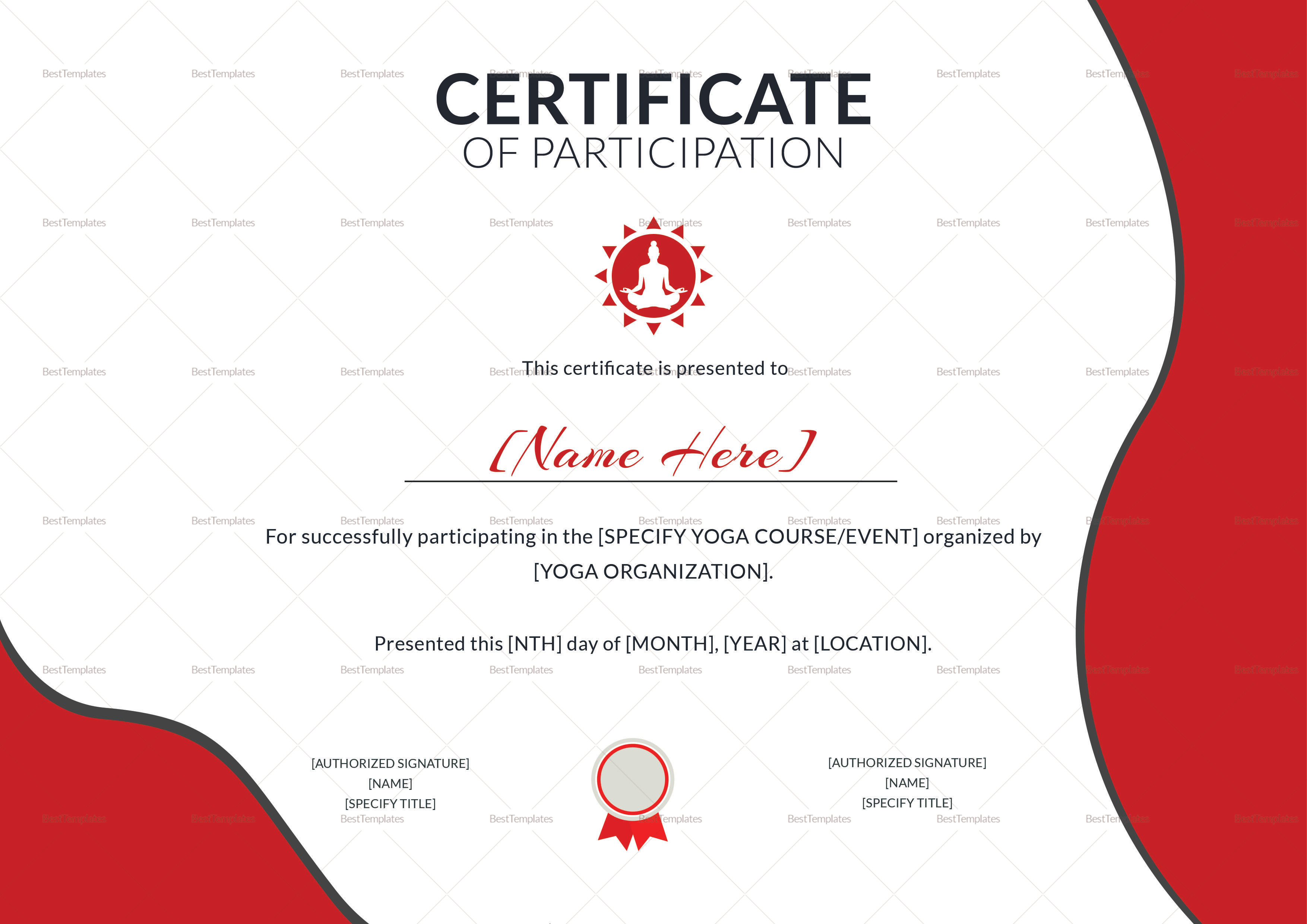 participation certificate yoga certificates template templates word event affect badly craving less don rollerworksfamilyskating