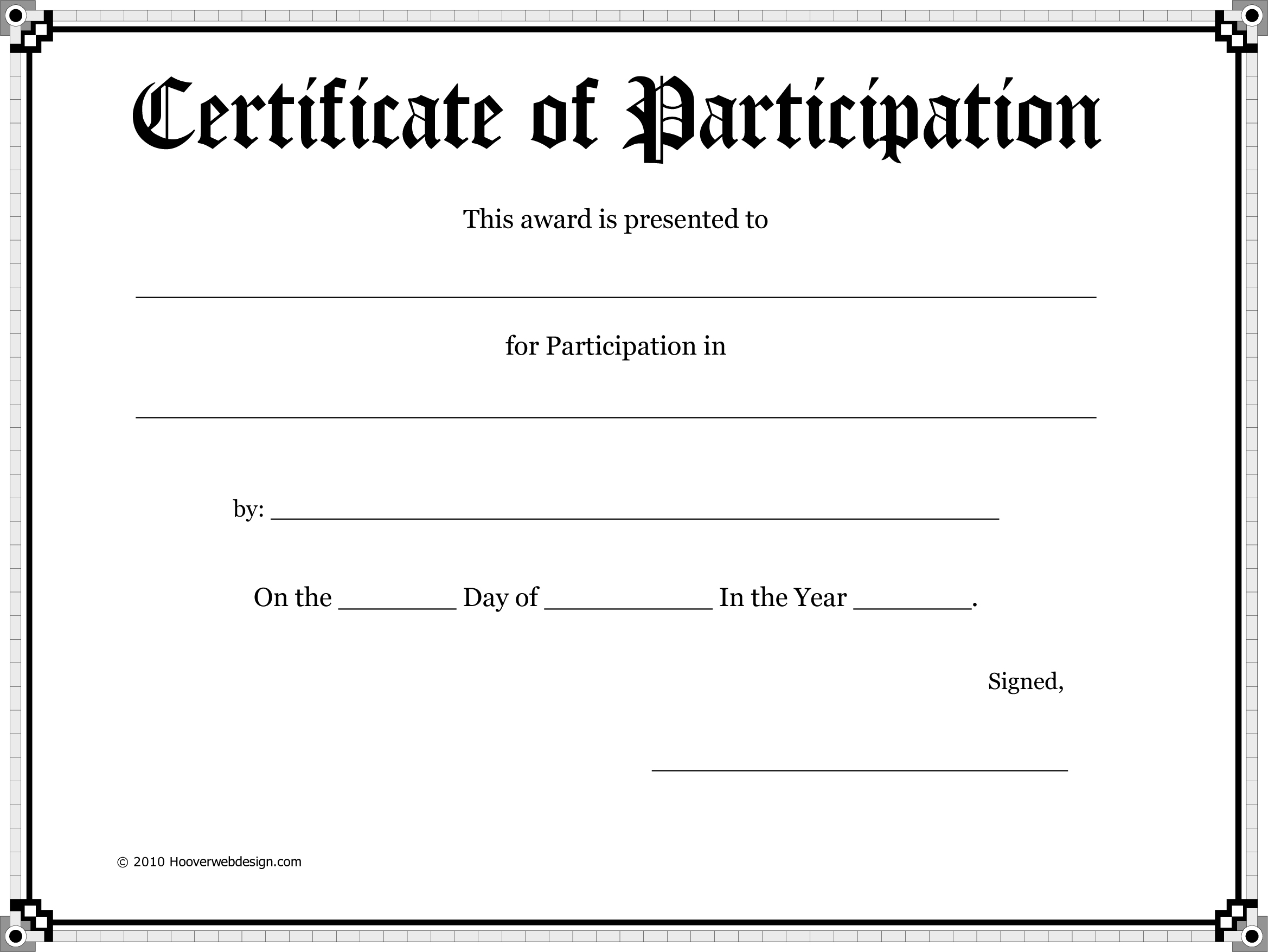 Certificate Of Participation Award Template