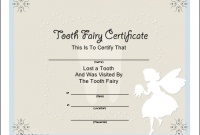 Tooth Fairy Certificate Template Free 5