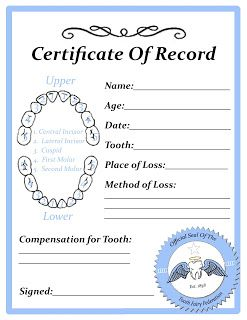Tooth Fairy Certificate Template Free 9