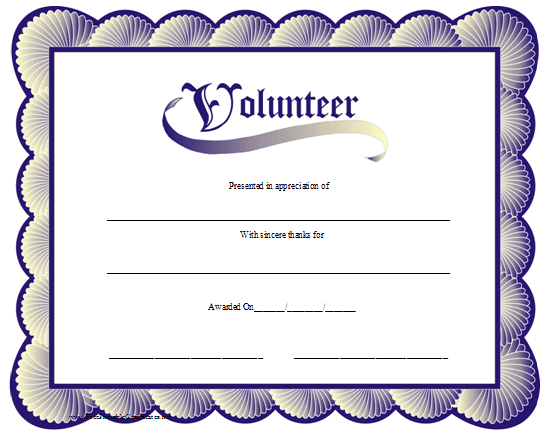 Volunteer Of The Year Certificate Template 10