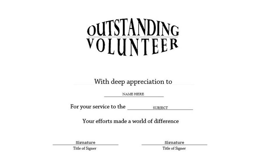 Volunteer Of The Year Certificate Template 5