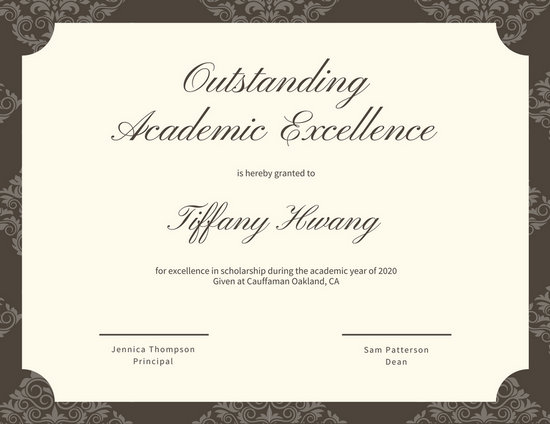 Academic Award Certificate Template 8