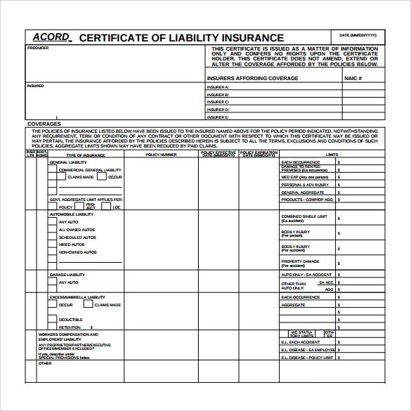 Acord Insurance Certificate Template 3