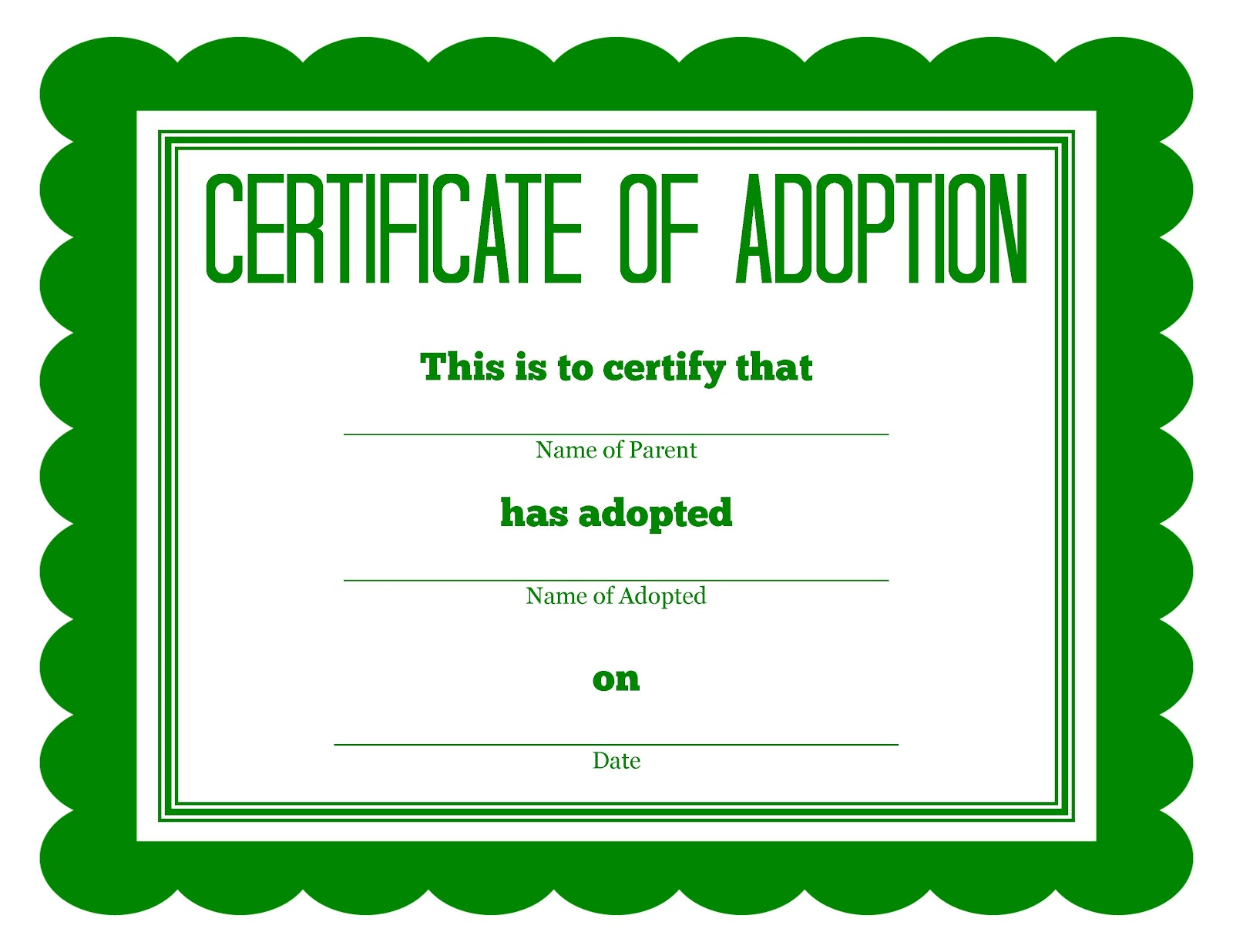 Adoption Certificate Green