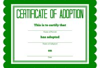 Adoption Certificate Green