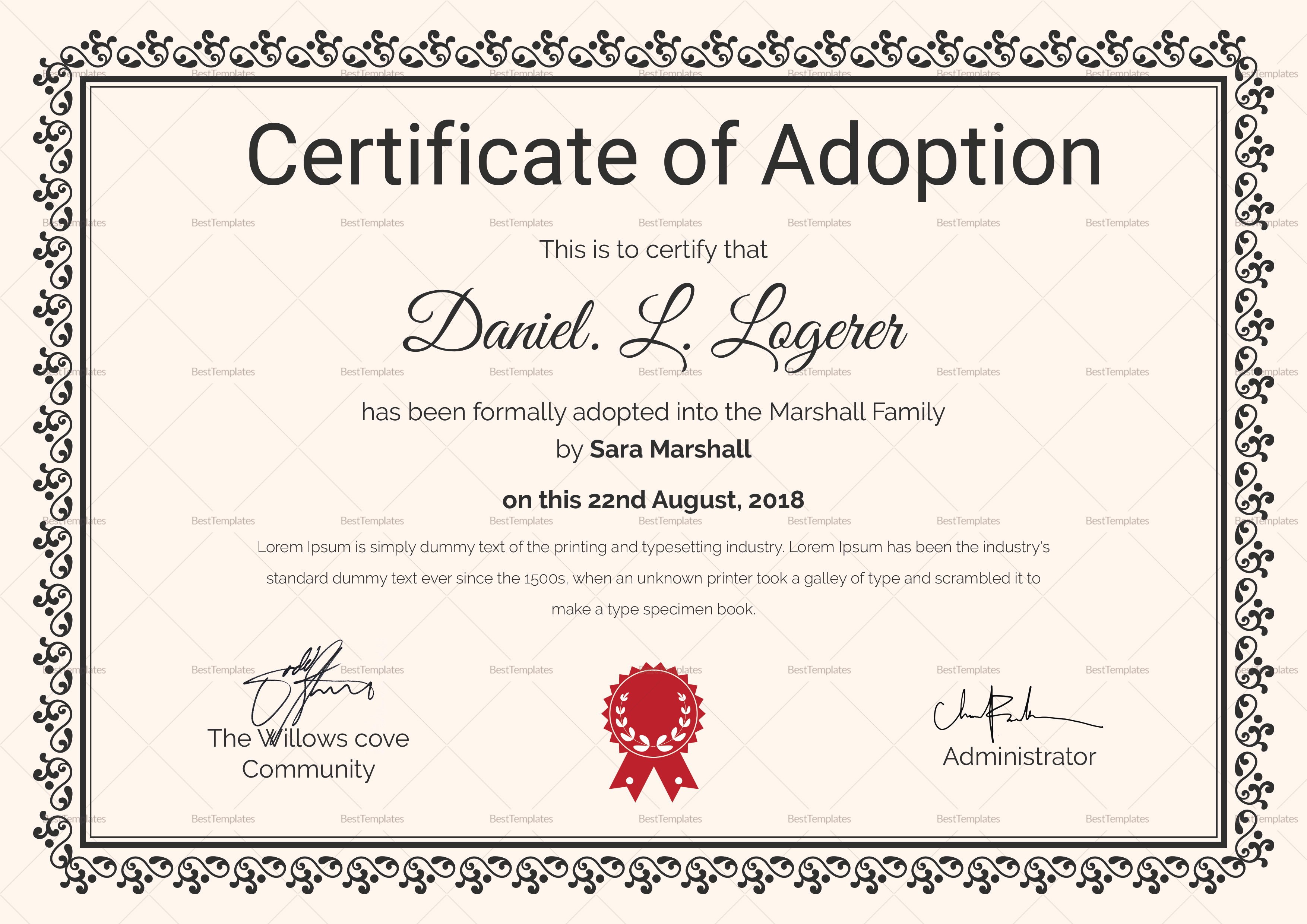 Adoption Certificate Template 3