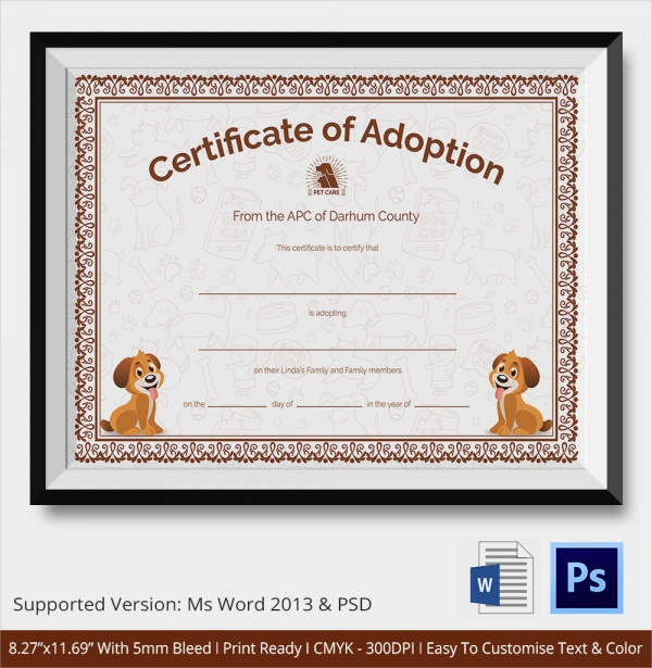 Adoption Certificate Template 7