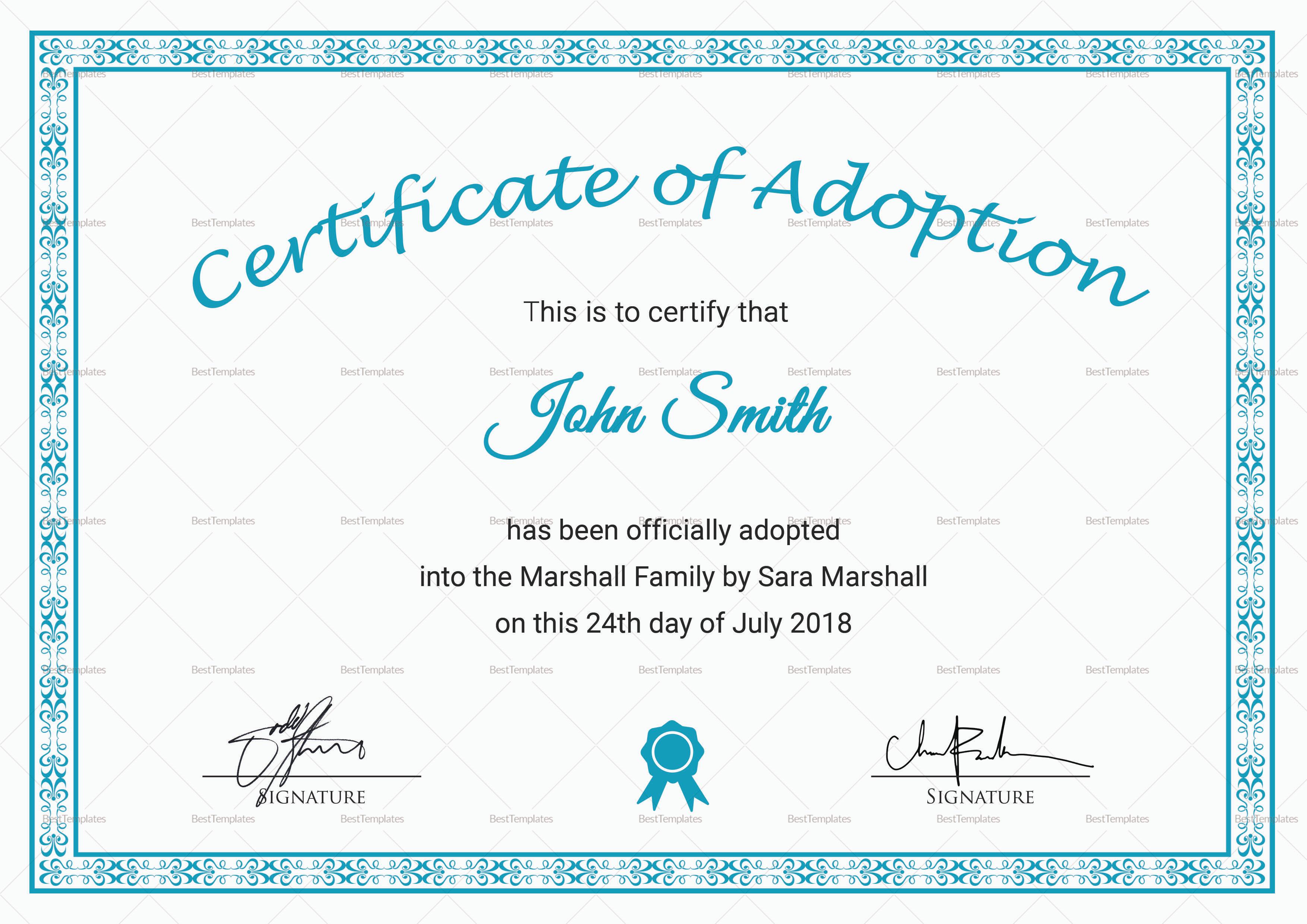 Adoption Certificate Template 8