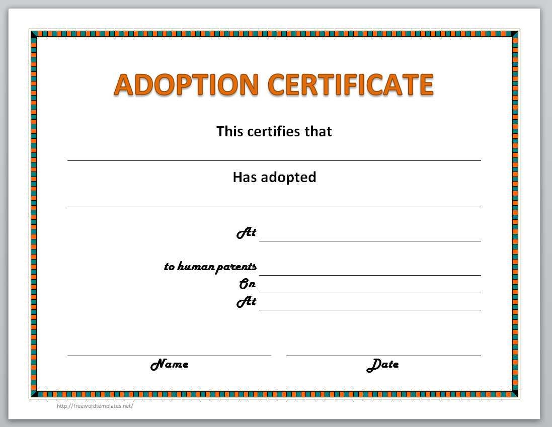 Adoption Certificate Template 9