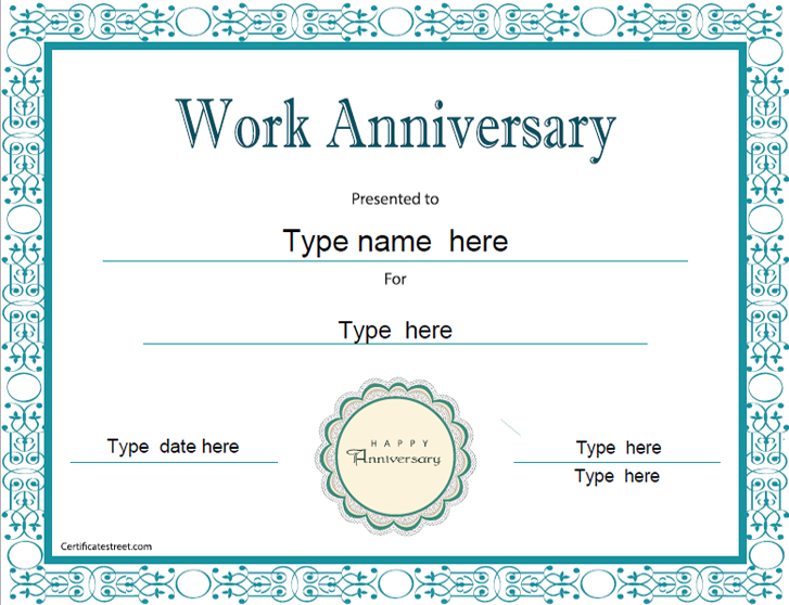 Anniversary Certificate Template Free 6