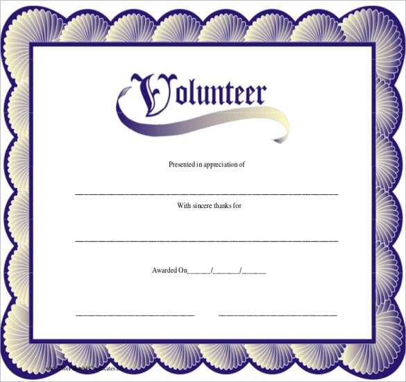 Best Volunteer Certificate