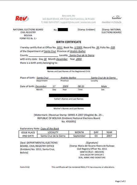 Birth Certificate Translation Template Uscis 7