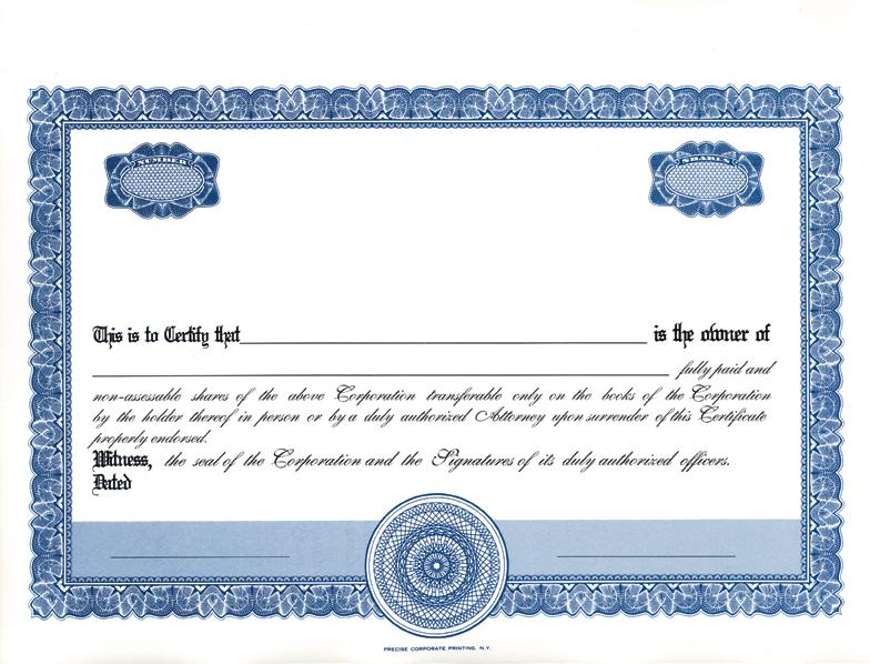 Blank Share Certificate Template Free 0