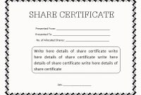 Blank Share Certificate Template Free 2
