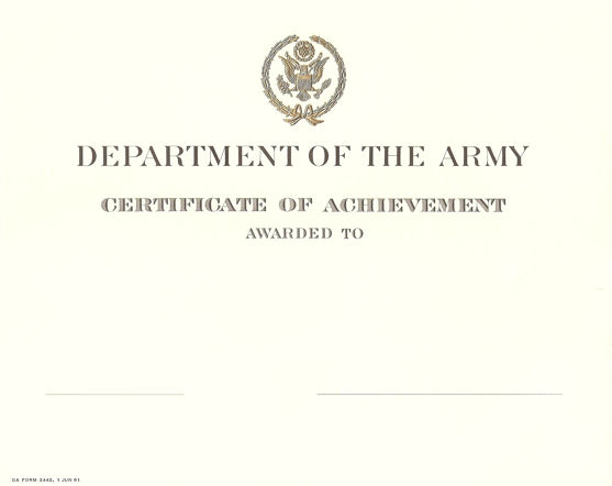 Certificate Of Achievement Army Template 10