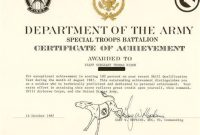 Certificate Of Achievement Army Template 6