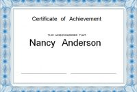 Certificate Of Achievement Template Word 11