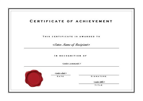 Certificate Of Achievement Template Word 2