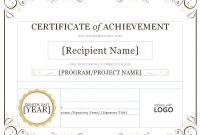 Certificate Of Achievement Template Word 6