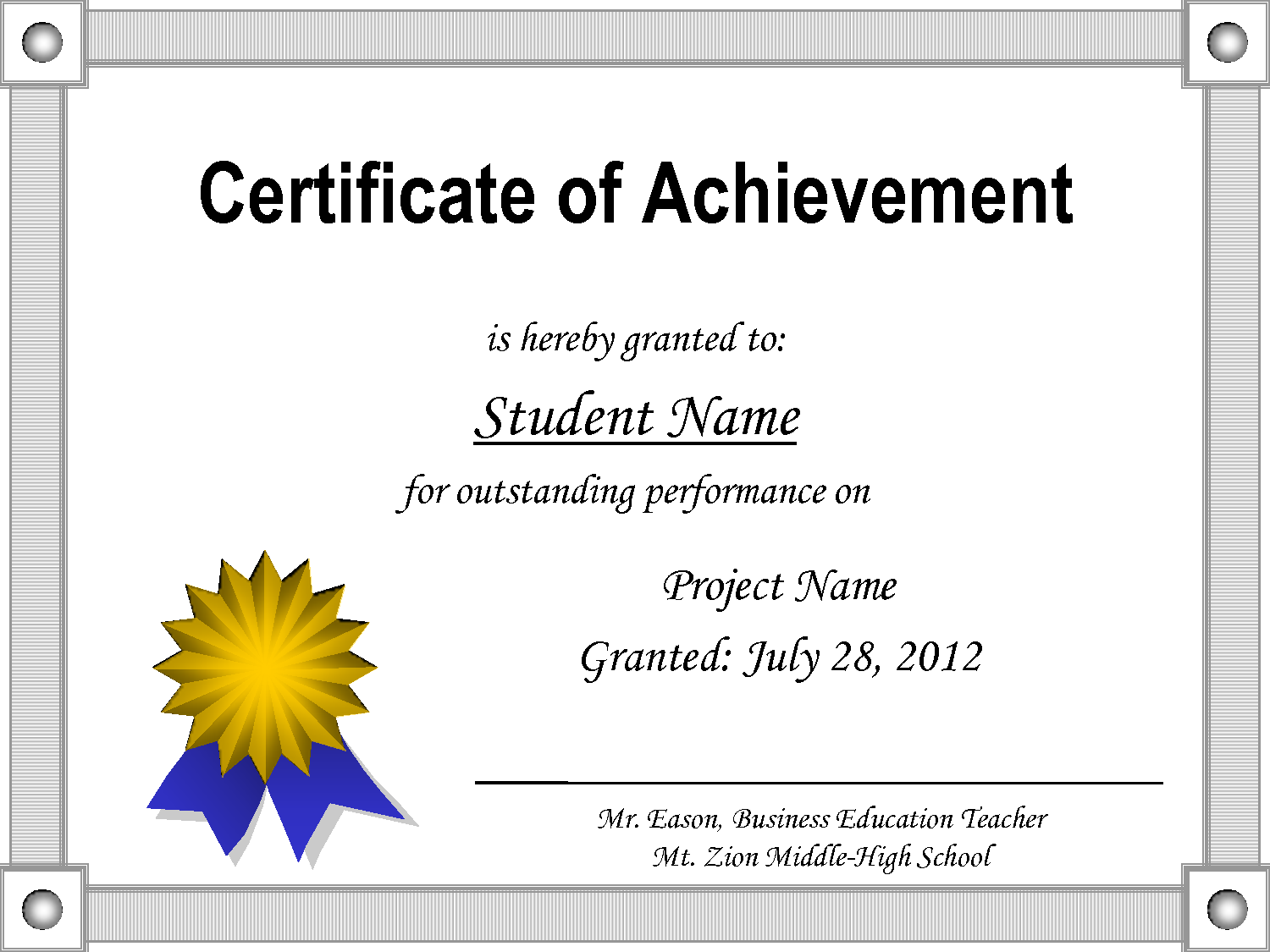 Certificate Of Achievement Template Word 8