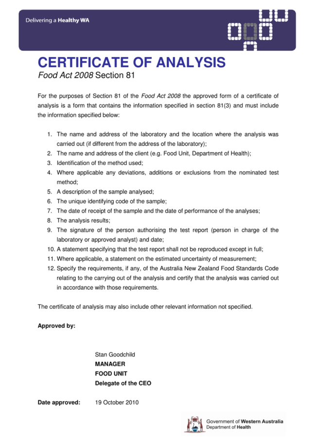 Certificate Of Analysis Template 5