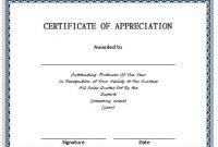 Certificate Of Appreciation Template Doc 0