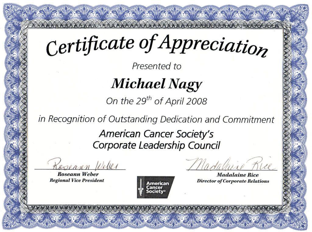 Certificate Of Appreciation Template Doc 6