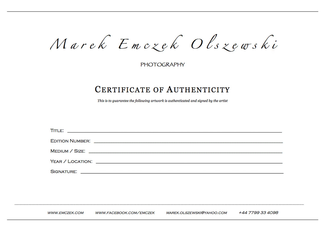 Certificate Of Authenticity Photography Template 2