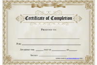 Certificate Of Completion Template Free Printable 2
