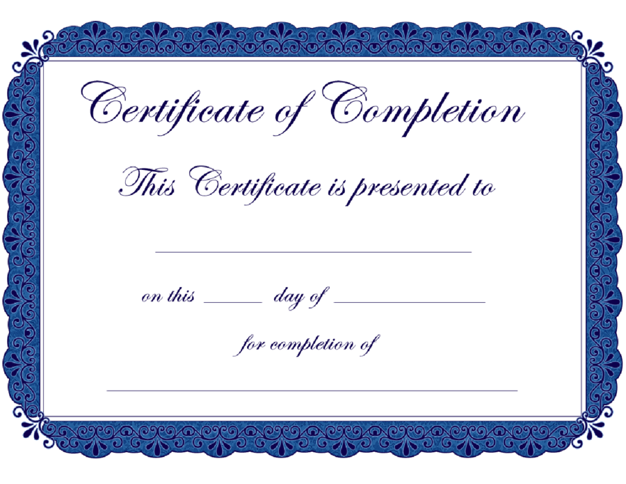 Certificate Of Completion Template Free Printable 3