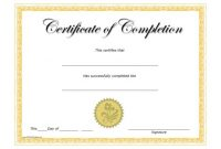 Certificate Of Completion Template Free Printable 6