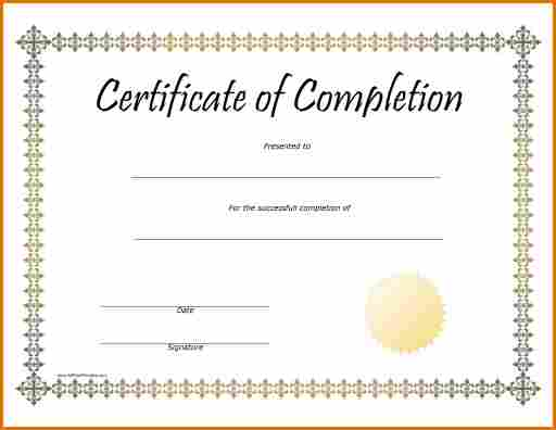 Certificate Of Completion Template Free Printable 7